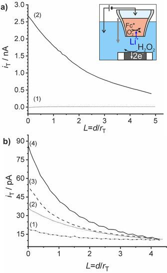 (a) Approach curves (1) without and (2) with Δ o w φ =−0.65 V applied at the liquid|liquid interface using the cell in Figure 2 with LiCl as an aqueous electrolyte solution. (b) The same as (a) but with aqueous electrolyte solutions of (1) HCl, (2) KCl, (3) NaCl, and (4) LiCl; Pt ME with r tip =12.5 μm as WE2, E T =0.8 V (vs. Ag|AgCl|Cl − ), v T =0.8 μm s −1 , Δ o w φ =−0.65 V, r MP ≈50 μm for (a) and 10 μm for (b).