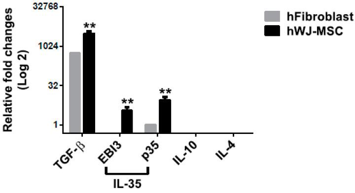 Quantification of hWJ-MSC-derived cytokine expression. The expression of mRNAs for Treg-associated cytokines, such as TGF-β, IL-10, IL-4, and IL-35 (which are composed of EBI3 and p35), in hWJ-MSC and fibroblasts, was quantified using qPCR. The levels of expression of cytokines were was normalized to that of GAPDH. The difference between the mean ± SD values of the hWJ-MSC and fibroblast groups was significant (** p