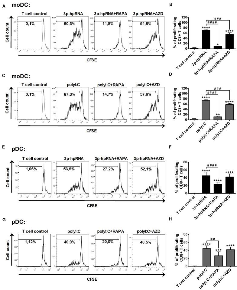 Rapamycin but not AZD8055 effectively inhibits the ability of RLR-stimulated moDCs and primary pDCs to induce proliferation of naive T cells. CFSE-labeled naïve CD8 + T cells were co-cultured with allogeneic moDCs (A–D) and primary pDCs (E–H) pre-treated with the indicated reagents. After 5 days of co-cultivation, cell division was measured by flow cytometry. (A,C,E,G) Representative histograms are shown where numbers indicate the percentage of viable dividing T cells. In A and C T cell controls are the same, since representative dot plots originate from the same set of experiment from one single donor. (B,D,F,H) Bar graphs represent the mean ± SD of at least 6 independent experiments. * p