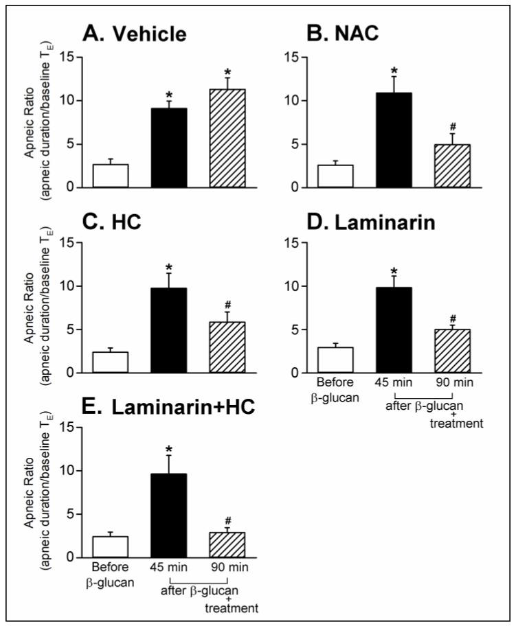 Effects of treatment with ( A ) vehicle, ( B ) NAC (0.3 g/kg, iv), ( C ) HC (8 mg/kg, iv), ( D ) Laminarin (10 mg/kg, iv) and ( E ) Laminarin + HC on the β-glucan-induced enhancement of pulmonary chemoreflex responses triggered by capsaicin injection in anesthetized, spontaneously breathing rats. Data are means ± SE ( n = 6). One-way ANOVA followed by Newman-Keuls post hoc test: *, significantly different from before β-glucan ( p
