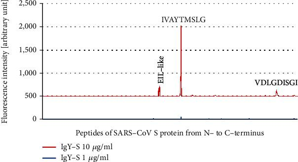 """IgY-S epitope mapping against the SARS-CoV Antigen Microarray. Peptide microarrays were performed with IgY-S at 1 μ g/ml and 10 μ g/ml, and the resulting fluorescence intensities were plotted in relation to sequential peptides covering SARS-CoV-2 S protein from N- to C-terminus. Fluorescence intensity peaks corresponding to the consensus motifs IVAYTMSLG and VDLGDISGI as well as an EIL-like motif are indicated. Weak signal peaks from peptide spots not of """"epitope signal pattern"""" are also shown."""