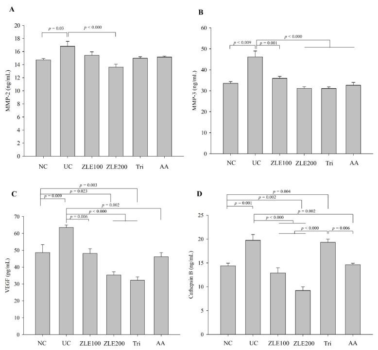 Effects of enzyme-treated Z. latifolia extract (ZLE) and tricin on the secretion of MMP-2, MMP-3, VEGF and cathepsin B in serum by UVA irradiation. ( A ) serum MMP-2; ( B ) serum MMP-3; ( C ) serum VEGF; ( D ) serum cathepsin B. The serum levels of the proteins were measured by ELISA. Data are expressed as the mean ± SE. The p values are determined by ANOVA and Tukey's HSD test.