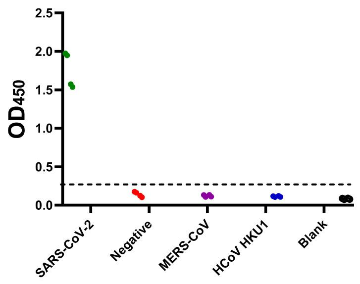 Assessment of the cross-reactivity of the developed SARS-CoV-2 S1 + S2 indirect ELISA. Plates were coated overnight at 4 ℃ with 100 ng/well of SARS-CoV-2 full-length S (S1 + S2) ECD-His recombinant protein. Following three washes with PBST, Serum samples containing anti-SARS-CoV-2 antibodies (green), anti-Middle East respiratory syndrome coronavirus (MERS-CoV) antibodies (purple), and anti-human coronavirus HKU1 (HCoV HKU1) antibodies (blue) were diluted 1:100 and added. Serum from healthy donors were used as a negative control (red). PBS containing 0.1% Tween 20 (PBST) was added as blank (empty circles). Following an hour of incubation at 37 ℃, three washes with PBST were performed followed by incubation with the conjugate (peroxidase-labelled anti-human IgG secondary antibody at 1:64,000 dilution) for 1 h at 37 ℃. Then, three washes with PBST were performed followed by the addition of 3,3',5,5'-Tetramethylbenzidine (TMB) substrate for 5 min. Hydrochloric acid (HCL) was added as a stop solution. The optical density was measured at 450 nm (OD 450 ).