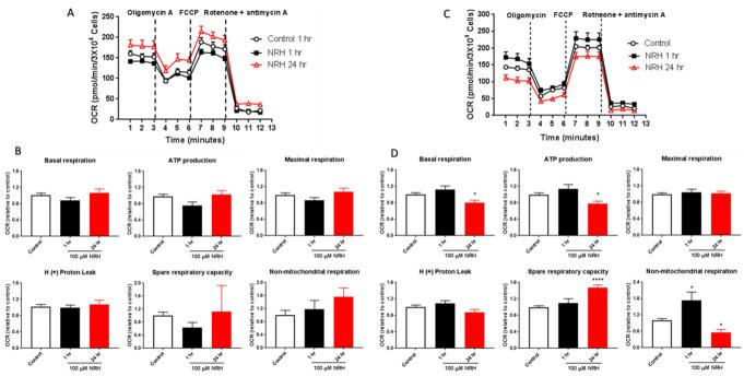NRH exposure compromised mitochondrial function in HepG3 but not in HEK293T cells. The Seahorse Biosciences XF24 extracellular analyzer was used to measure mitochondrial stress test parameters. Representative OCR curves of untreated (white) and 100 μM NRH exposure for 1 h [ 39 ] and 24 h (red) in (A) HEK293T and (C) HepG3 cells. Mitochondrial respiratory function was assessed by adding oligomycin, FCCP and rotenone antimycin A and individual parameters for basal respiration, ATP production, proton leak, maximal respiration, spare respiratory capacity and non-mitochondrial respiration was measured in (B) HEK293T and (D) HepG3 cells. Results are expressed as mean OCR values relative to control ± the SEM of three independent experiments. Statistical significant *P