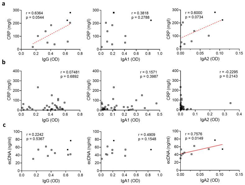 SARS-CoV-2-specific IgA2 levels correlate with ecDNA in severely diseased patients. ( a , b ) Correlation of levels of IgG, IgA1 and IgA2 directed against S1+S2 protein of SARS-CoV-2 with CRP in the plasma of SARS-CoV-2-infected patients with ( a ) severe disease (N = 10) or ( b ) moderate disease (N = 31). Filled squares represent patients who died. ( c ) Correlation of levels of IgG, IgA1 and IgA2 directed against S1+S2 protein of SARS-CoV-2 in the plasma of SARS-CoV-2-infected subjects with severe disease (N = 10) with the amount of ecDNA. Filled squares represent patients who died. Significance was tested with Spearman's correlation coefficient. p