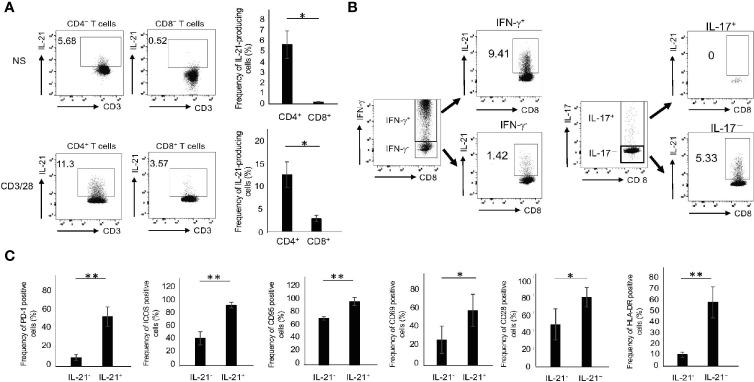 The phenotype of IL-21-producing CD8 + T cells. (A) PBMCs from HCs were stimulated in the absence or presence of CD3/28 beads for 72 h and then IL-21 production from CD4 + and CD8 + T cells was analyzed by intracellular staining (added PMA and Ionomycin for the last 6 h). Left panels are representative data on IL-21 production from CD4 + and CD8 + T cells stimulated with CD3/28 and the right graph summarizes the results (N=4). (B) PBMCs from HCs were stimulated under the same condition as (A) , and IFN-γ and IL-17 production from IL-21 + and IL-21 - CD8 + T cells was analyzed by intracellular staining. (C) PBMCs from HCs were stimulated under the same condition as (A) , and expression levels of PD-1, ICOS, CD95, CD69, CD28 and HLA-DR in IL-21 + and IL-21 - CD8 + T cells were analyzed by flow cytometry. The graph summarizes the results (N=4). * P
