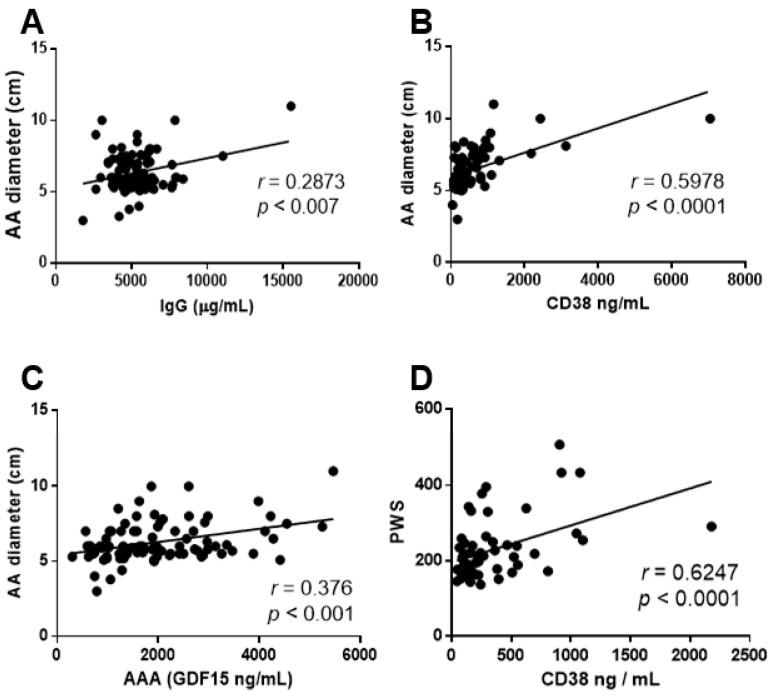 IgG, CD38 and GDF15 circulating levels positively correlate with the AAA diameter whereas only CD38 correlates with PWS. ( A ) Graphs showing the correlation analysis between IgG plasma levels and AAA diameter ( n = 90) and ( B , C ) the correlation analysis between CD38 plasma levels and AAA diameter ( n = 90) or PWS values in AAA patients ( n = 58). ( D ) Graph showing the correlation analysis between GDF15 plasma levels and AAA diameter ( n = 90). The r and p -values are obtained by performing the Spearman or the Pearson correlation coefficient test. Results are expressed as mean ± SEM.