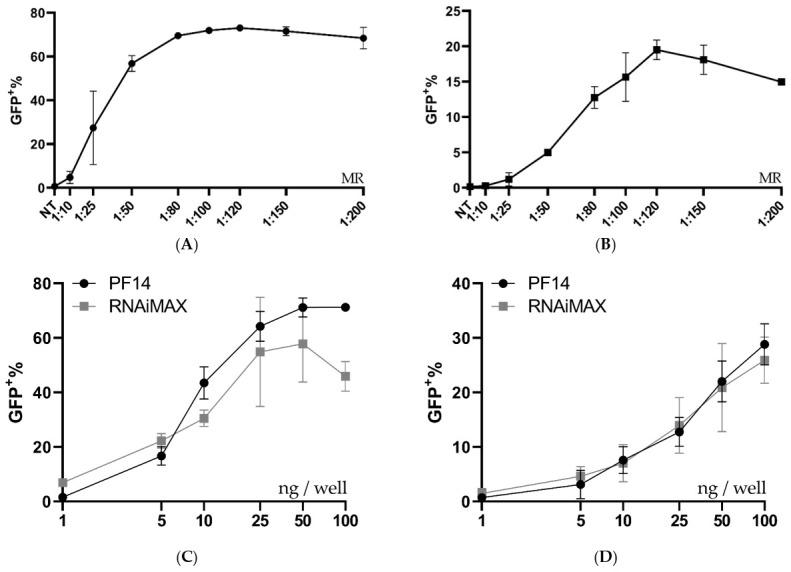 Ratio and dose testing in MDA-MB-231 SL and MCF-7 SL. ( A , B ) Ratio optimization of Cas9 RNP-PF14 (50 ng Cas9/well, formulated in DMEM/PVA-PEG (2.5 w/v %)) given to MDA SL and MCF SL cells. Means of n = 2. ( C , D ) Dose titration of RNP-PF14 (MR 1:150 RNP to PF14 formulated in DMEM/PVA-PEG (2.5 w/v %)) and RNAiMAX on ( C ) MDA SL and ( D ) MCF SL cells, respectively. Linear y -axis against log 10 x -axis. n = 3 for PF14-RNP and n = 2 for RNAiMAX.