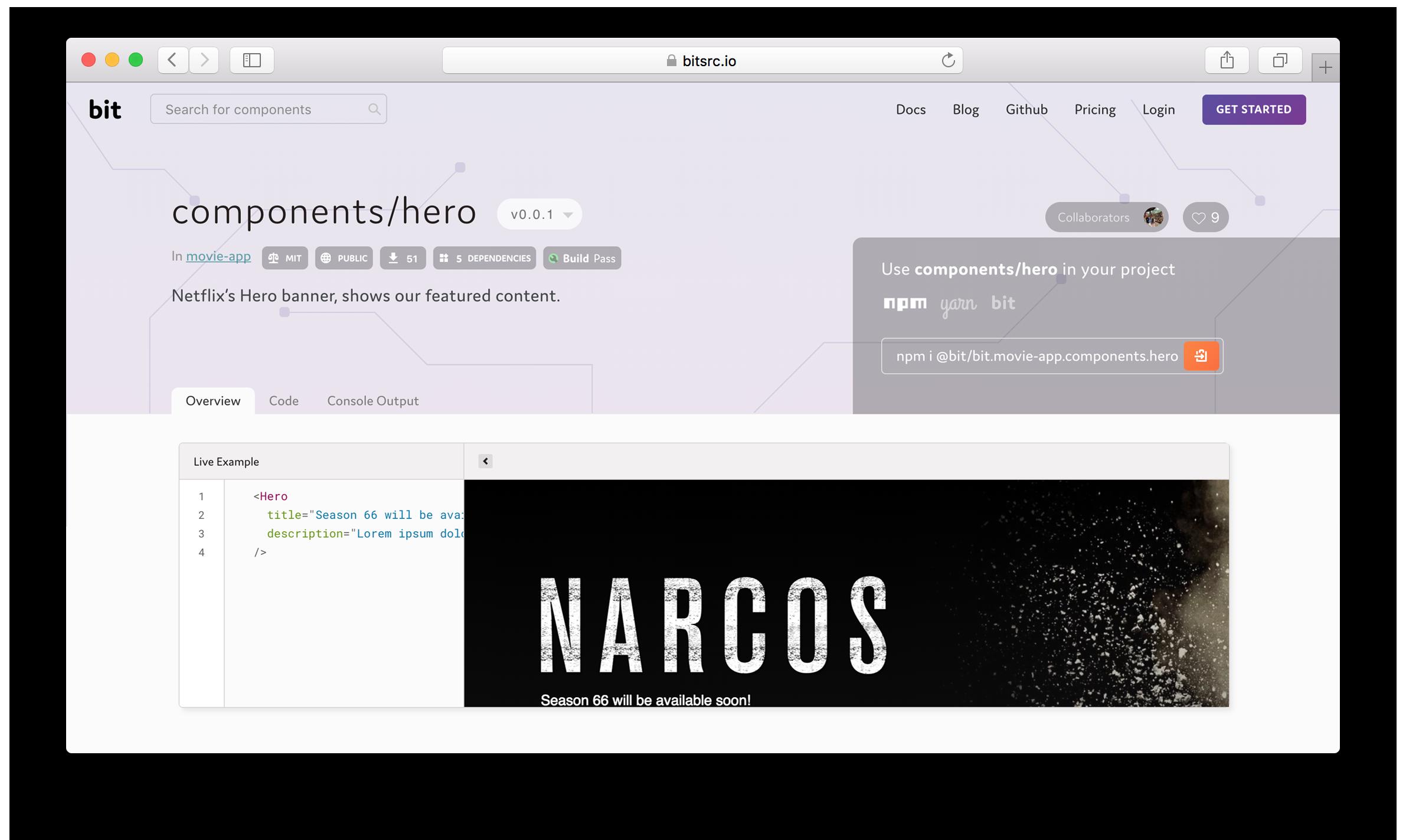 React Hero component