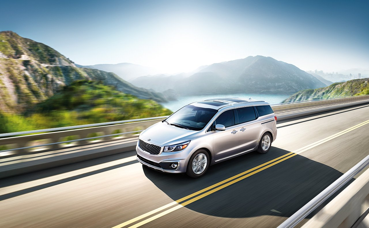 2017 Kia Sedona on mountain highway
