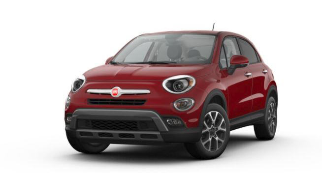 Red Fiat 500x Trekking on white background