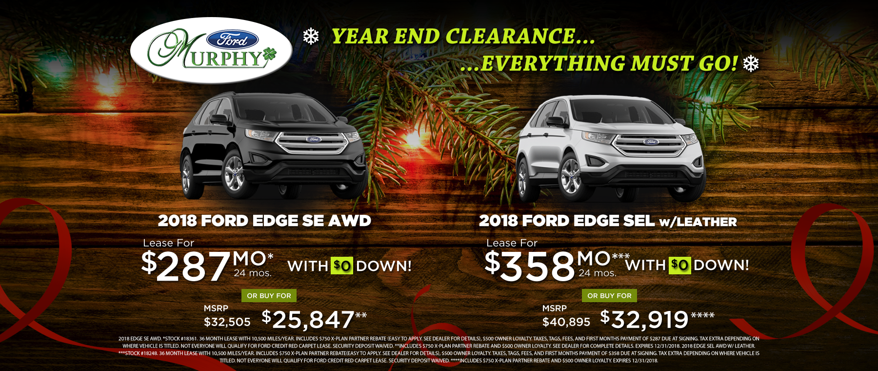 2018 Ford Edge December Lease Offer