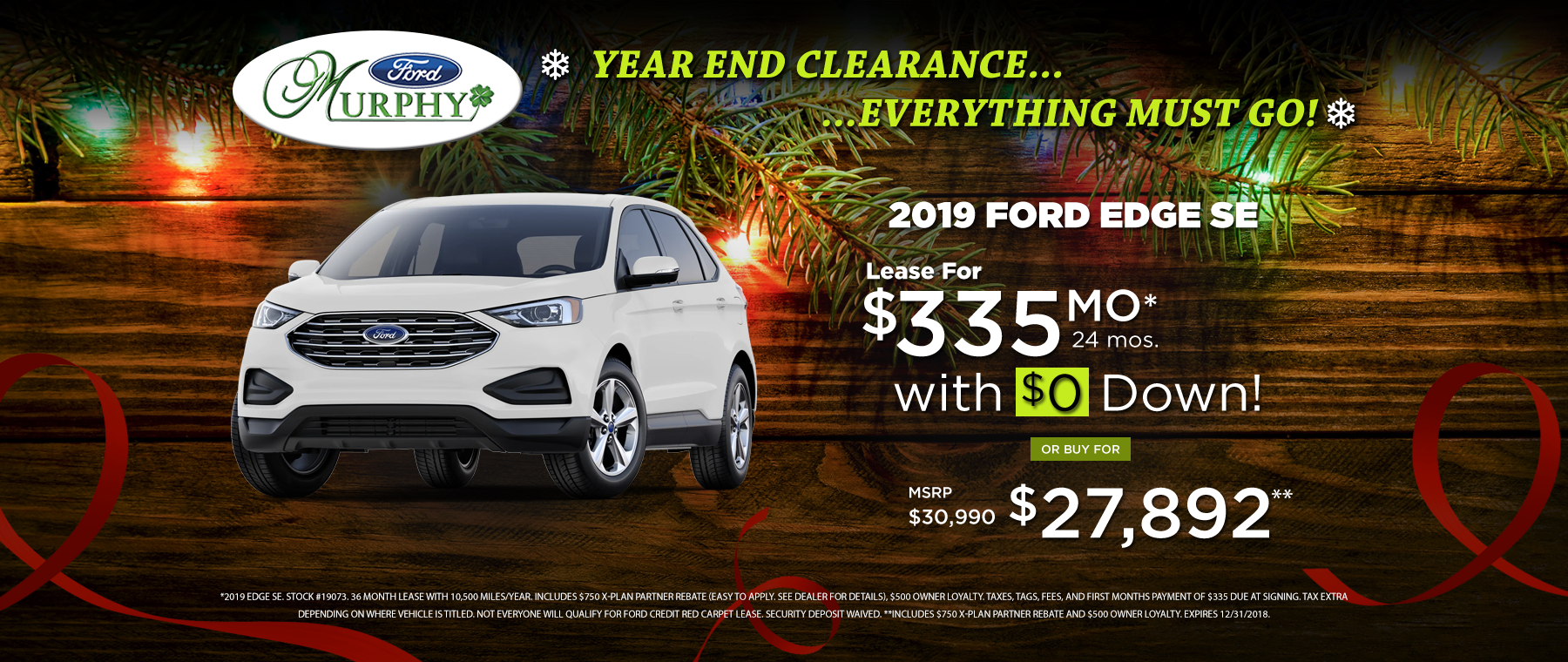 2019 Ford Edge December Lease Offer