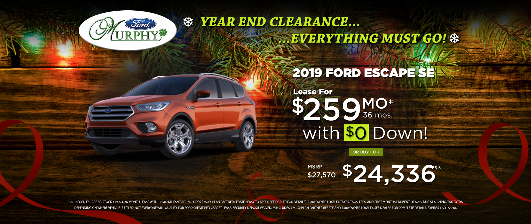 2019 Ford Escape December Lease Offer