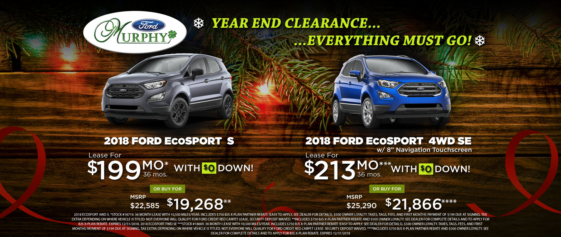 2018 Ford EcoSport December Lease Offer