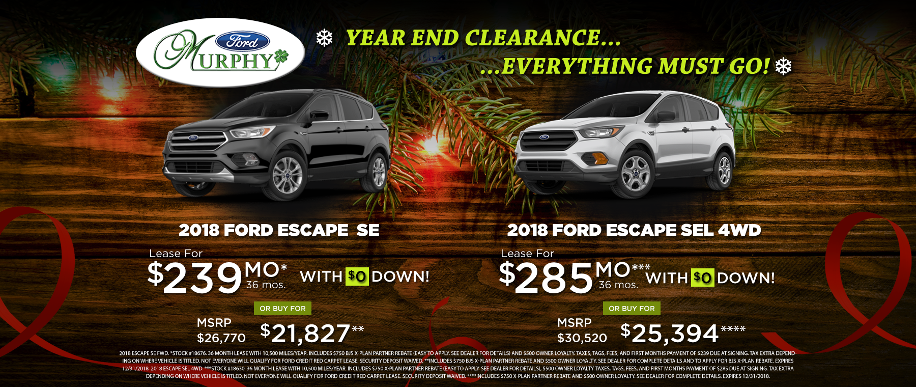 2018 Ford Escape December Lease Offer