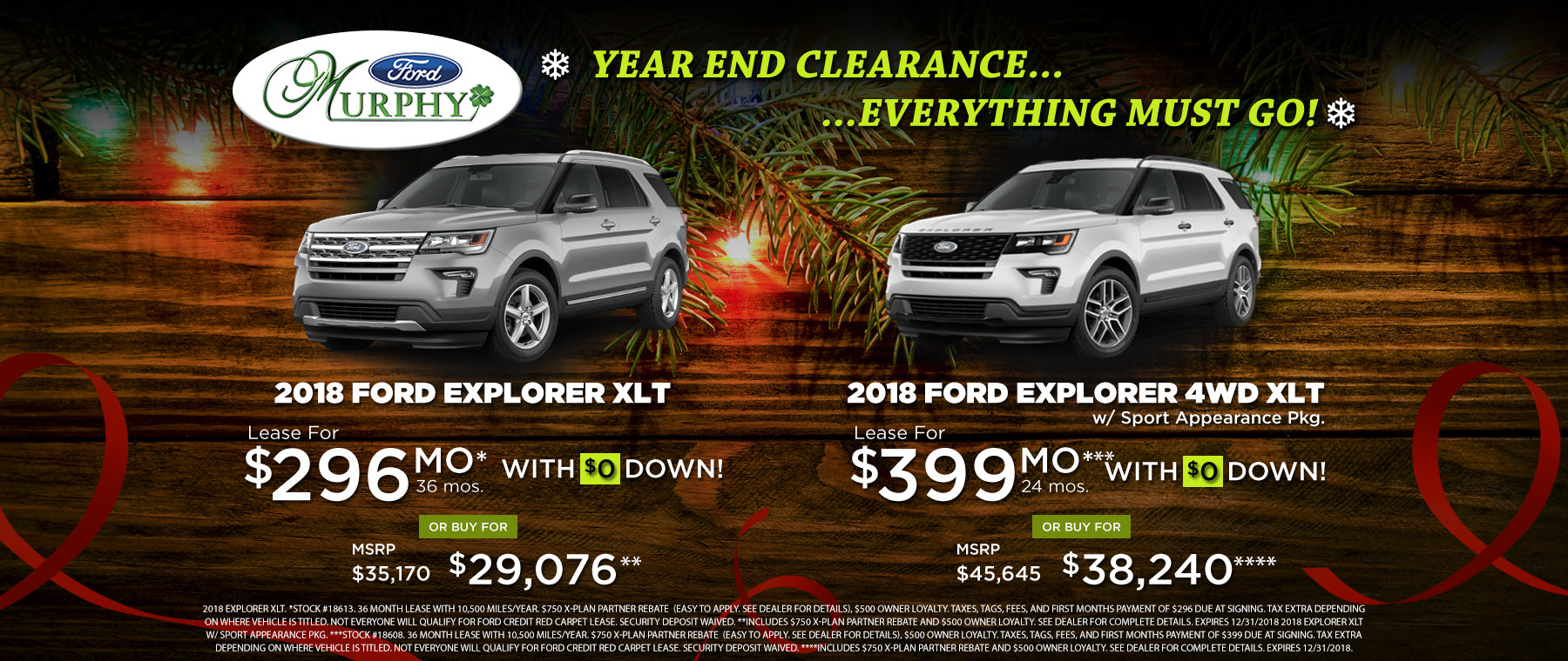 2018 Ford Explorer December Lease Offer