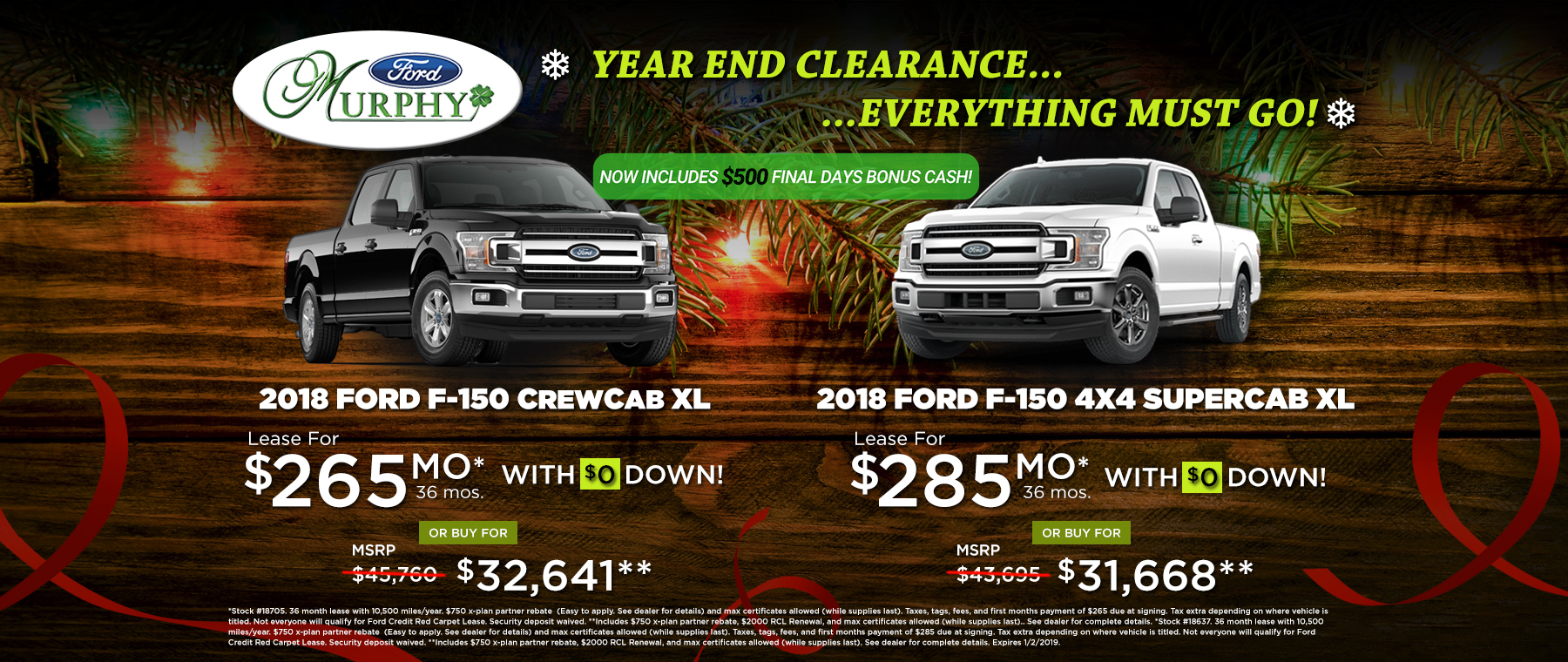 2018 Ford F-150 December Lease Offer