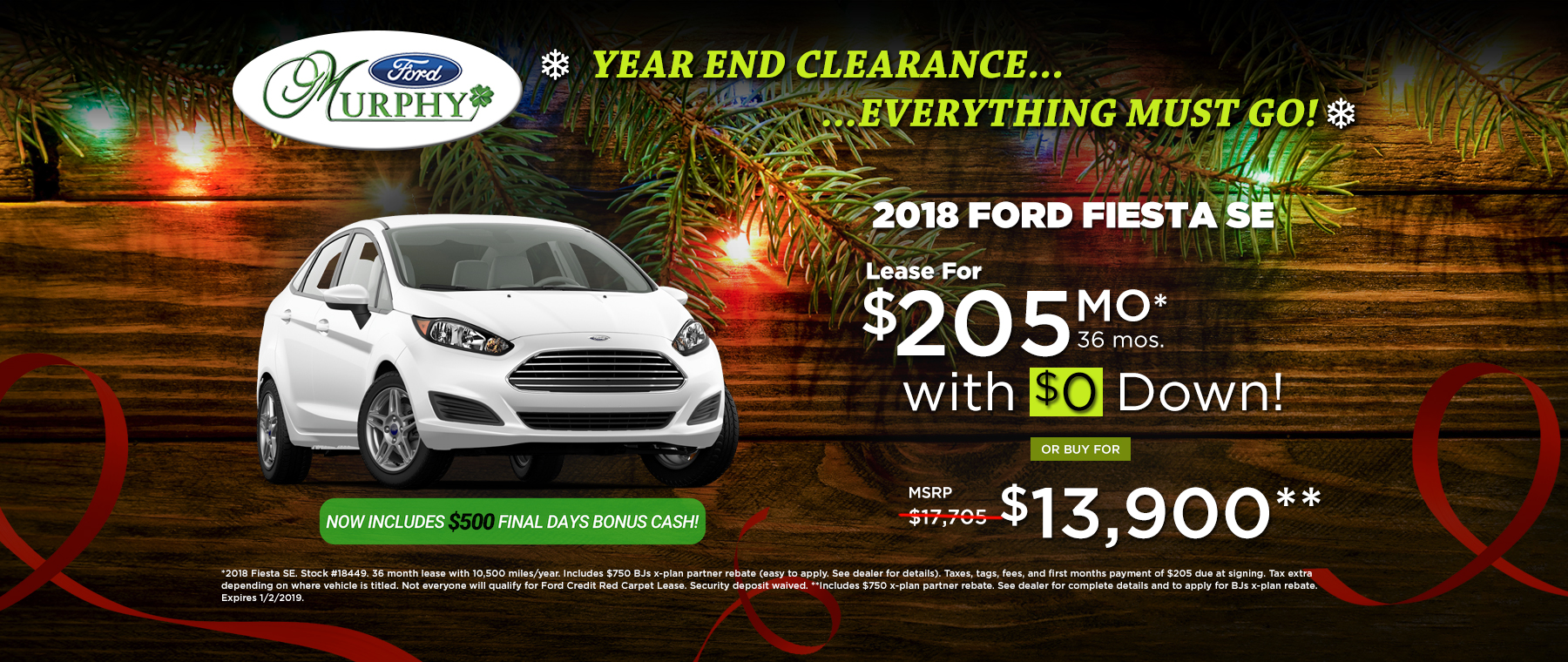 2018 Ford Fiesta SE December Lease Offer