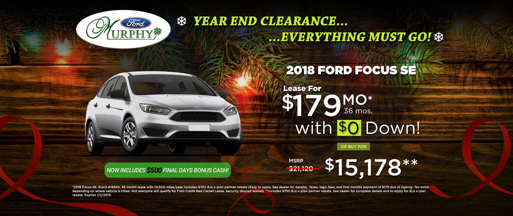 2018 Ford Focus SE December Lease Offer