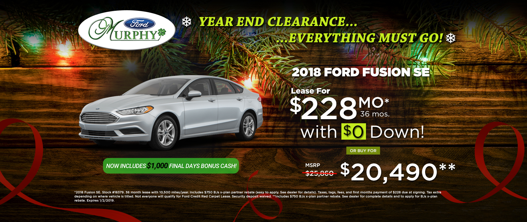 2018 Ford Fusion SE December Lease Offer