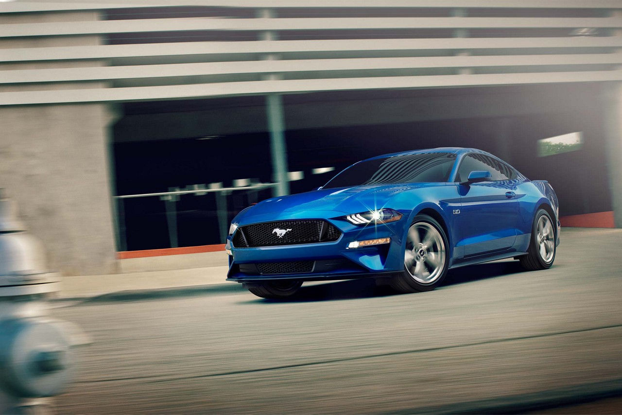 2018 Ford Mustang Blue on city street