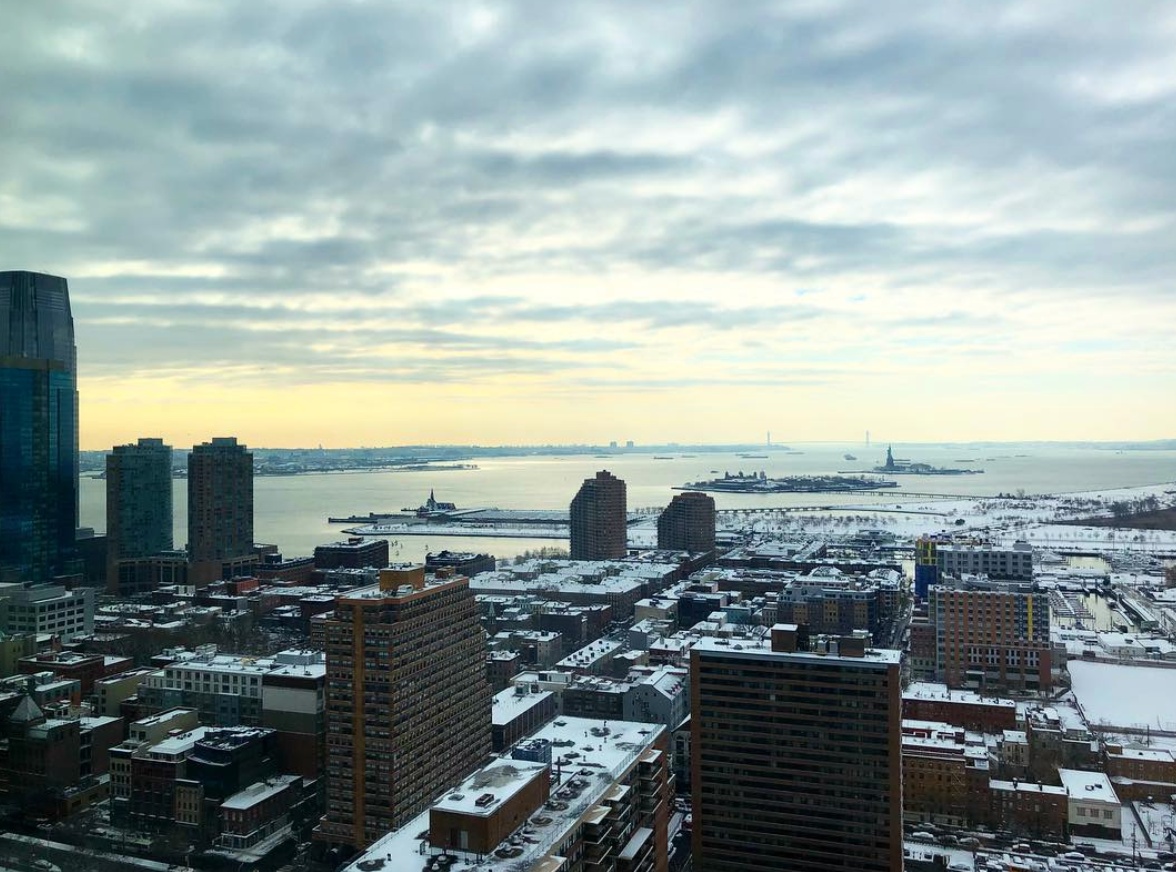 Overlooking Jersey City, Ellis Island, and the Statue of Liberty