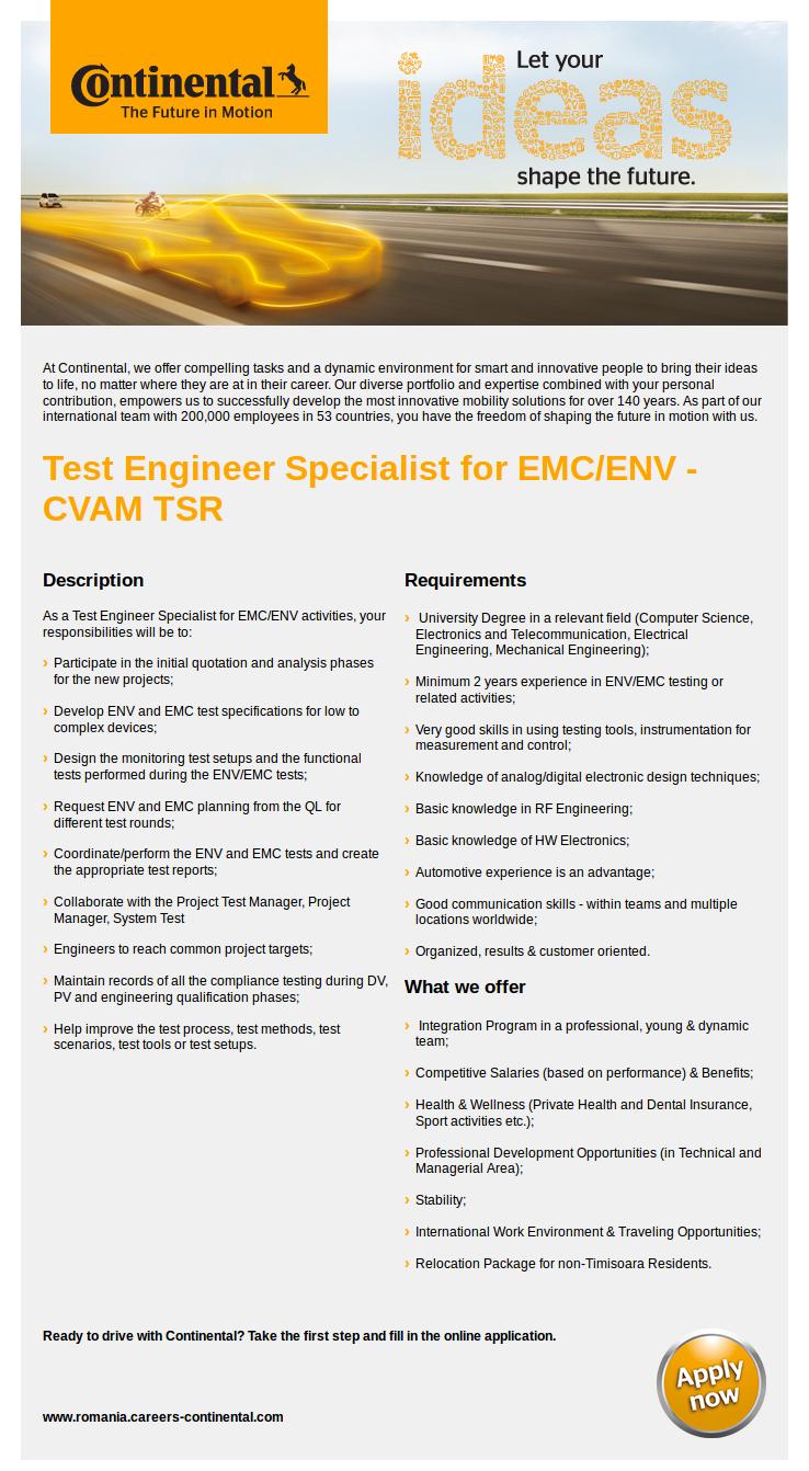 Test Engineer Specialist for EMC ENV - CVAM TSR