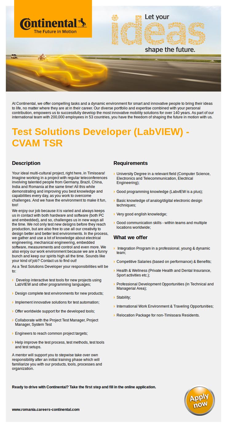 Test Solutions Developer (LabVIEW) - CVAM TSR