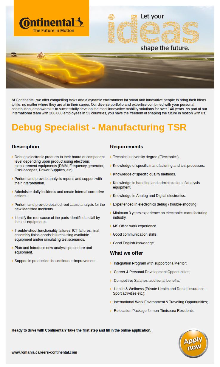 Debug Specialist - Manufacturing TSR
