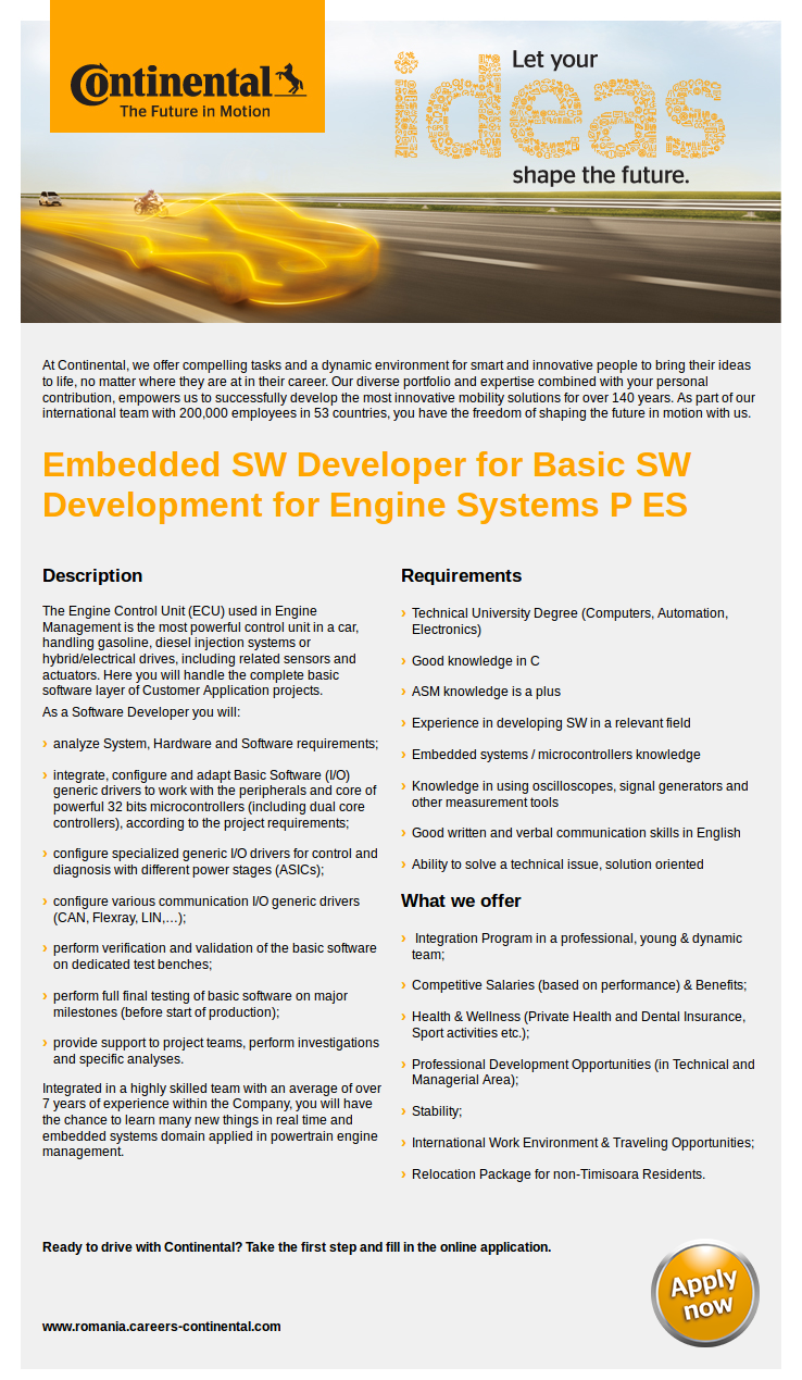 SW Developer for Basic SW Development for Engine Systems P ES