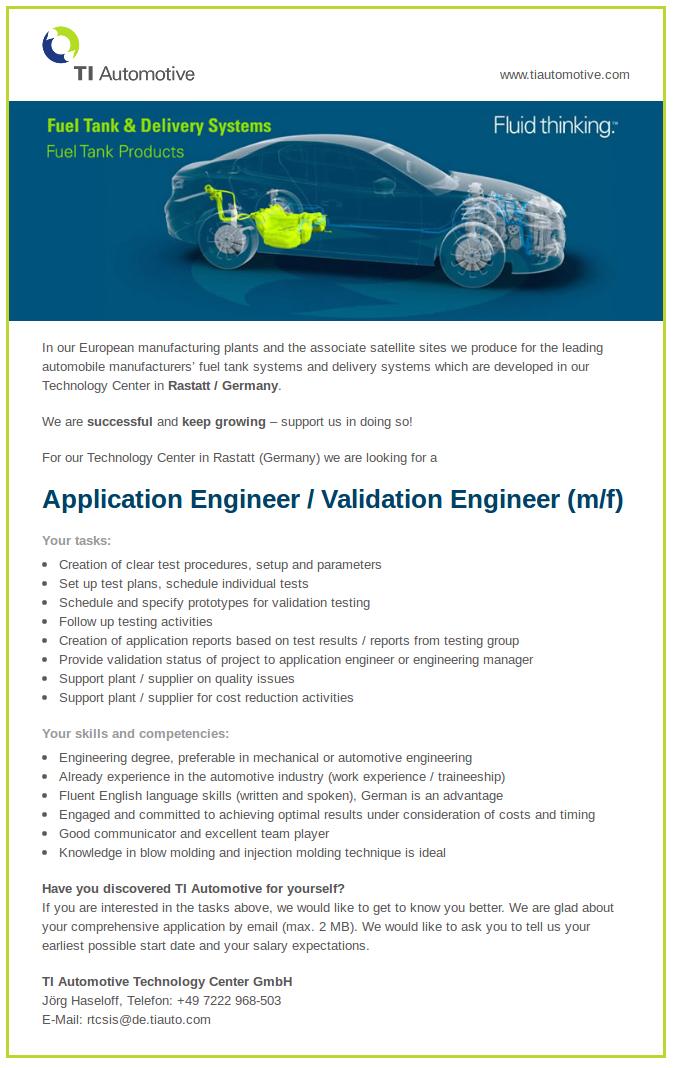 Application Engineer/Validation Engineer (m/f)