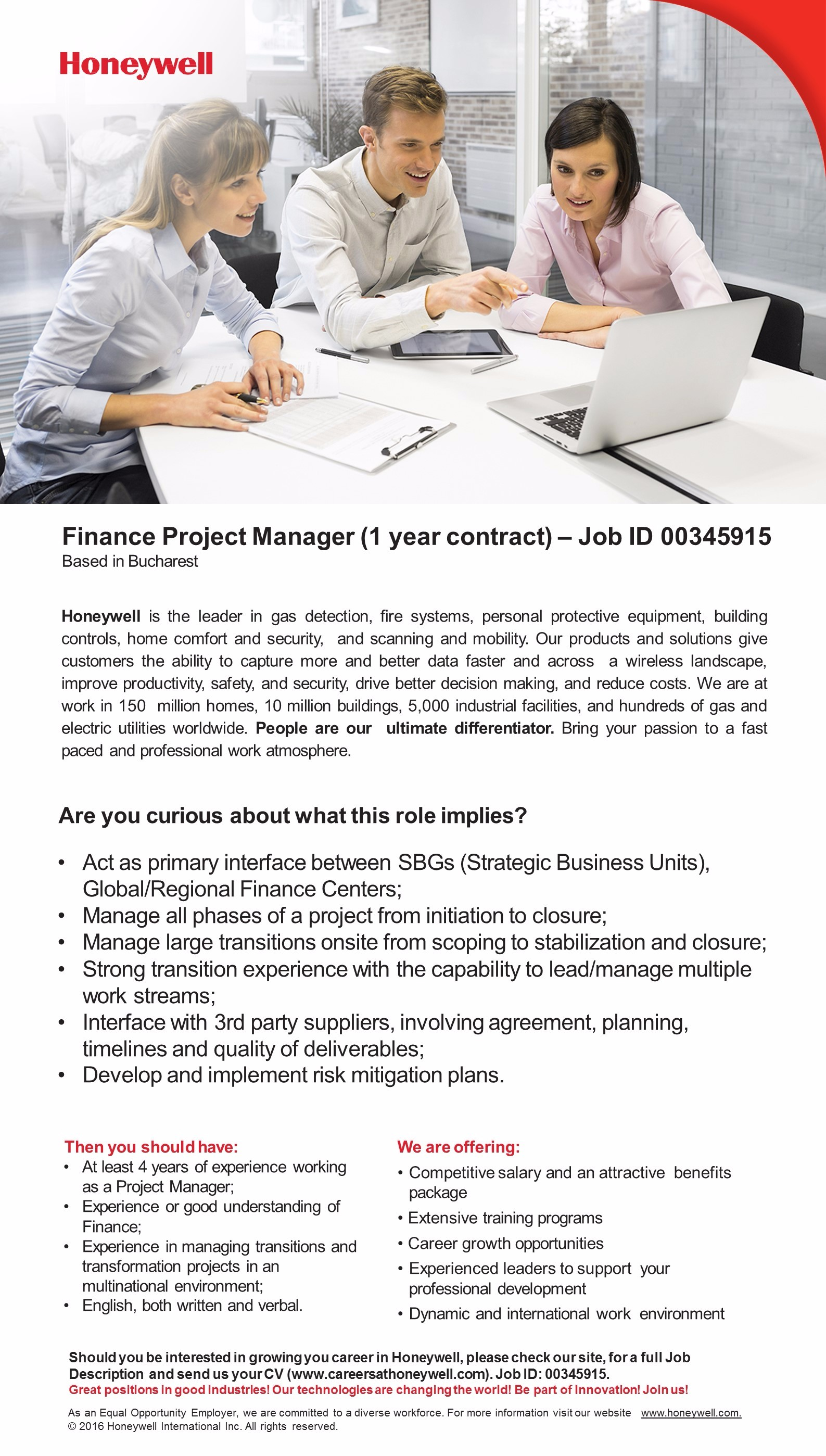 Finance Project Manager - 1 year contract