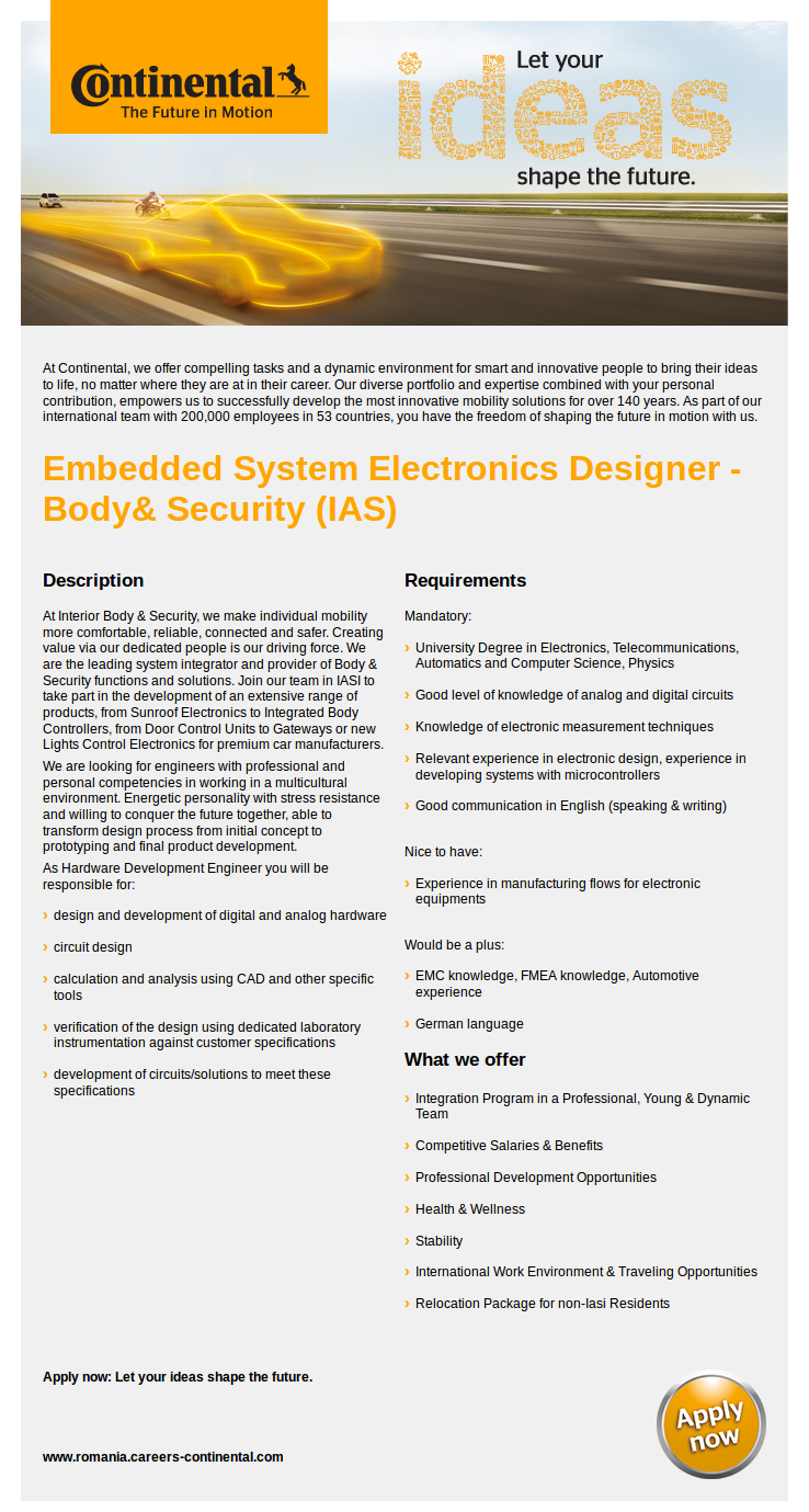 Embedded System Electronics Designer - Body& Security (IAS)