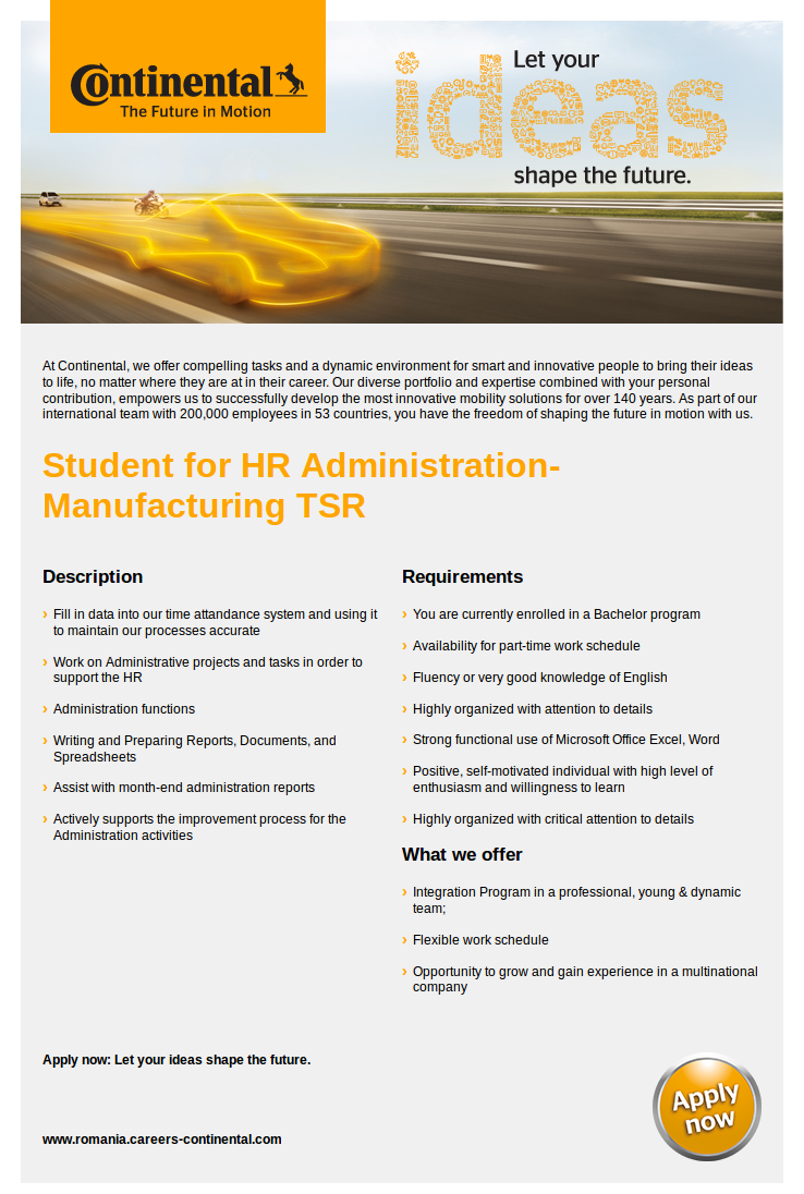Student for HR Administration-Manufacturing TSR