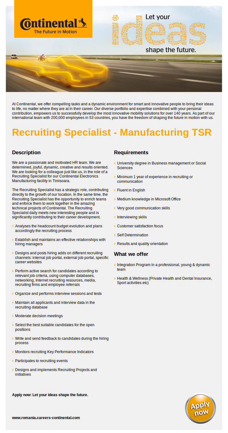 Recruiting Specialist - Manufacturing TSR