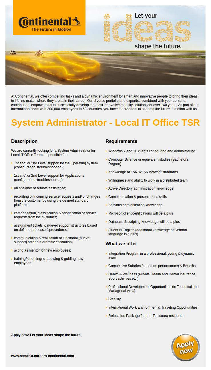 System Administrator - Local IT Office TSR
