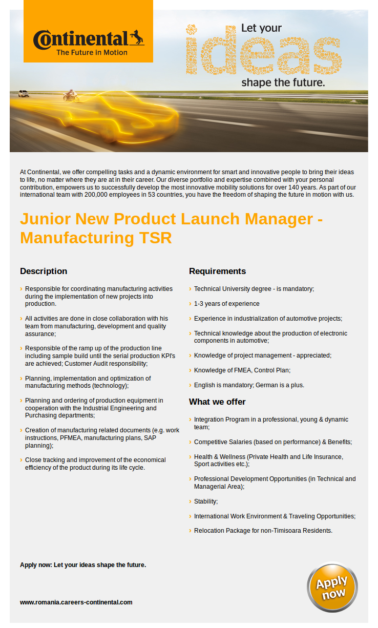 Junior New Product Launch Manager - Manufacturing TSR