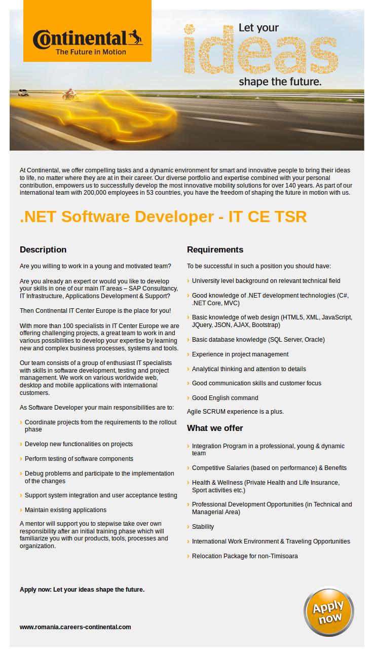 NET Software Developer - IT CE TSR