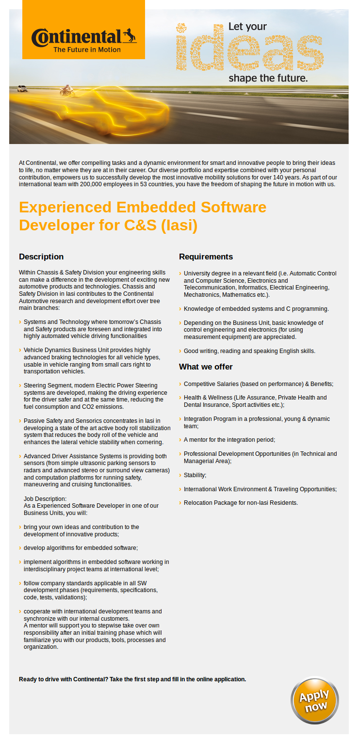 Experienced Embedded Software Developer for C&S (Iasi)