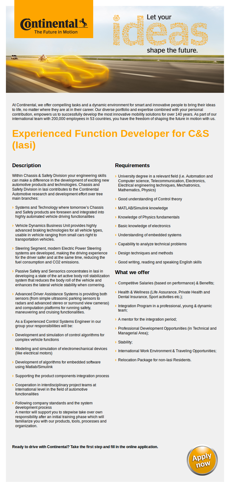 Experienced Function Developer for C&S (Iasi)