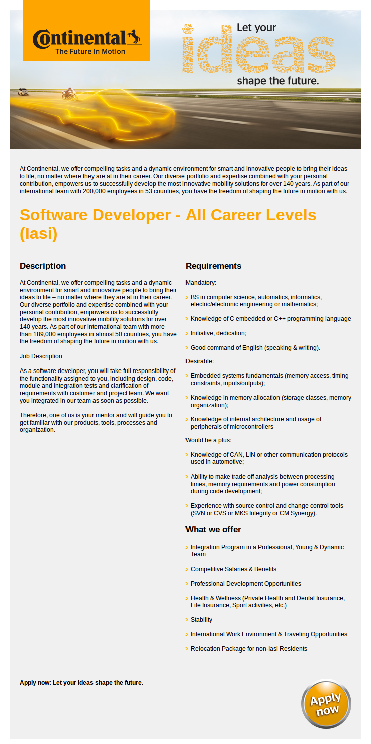 Software Developer - All Career Levels (Iasi)