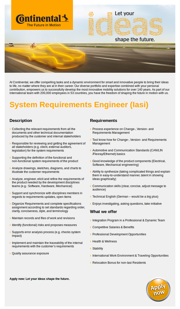 System Requirements Engineer (Iasi)