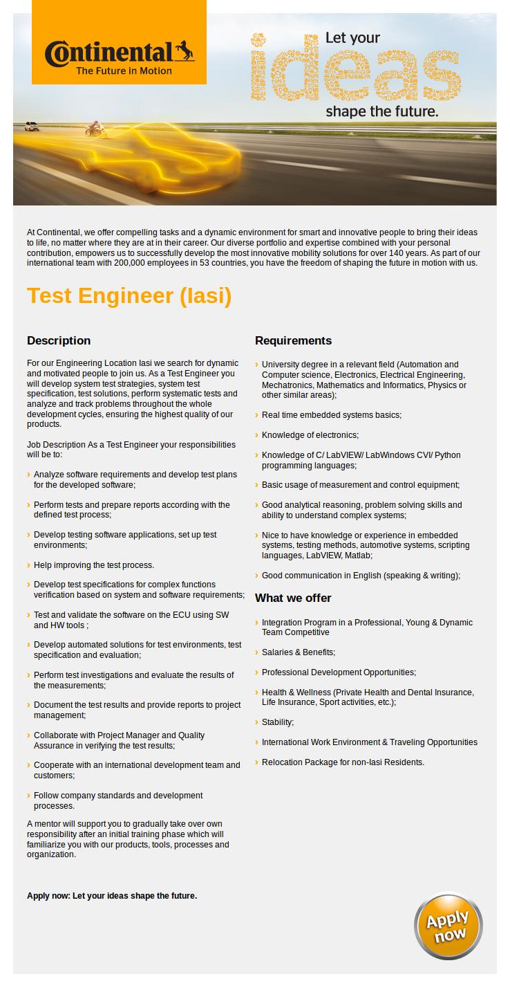 Test Engineer (Iasi)