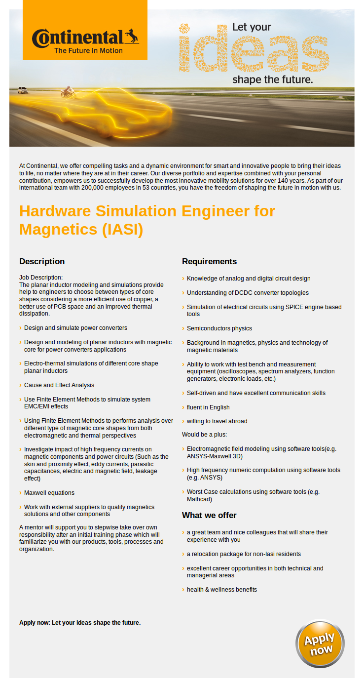 Hardware Simulation Engineer for Magnetics (IASI)
