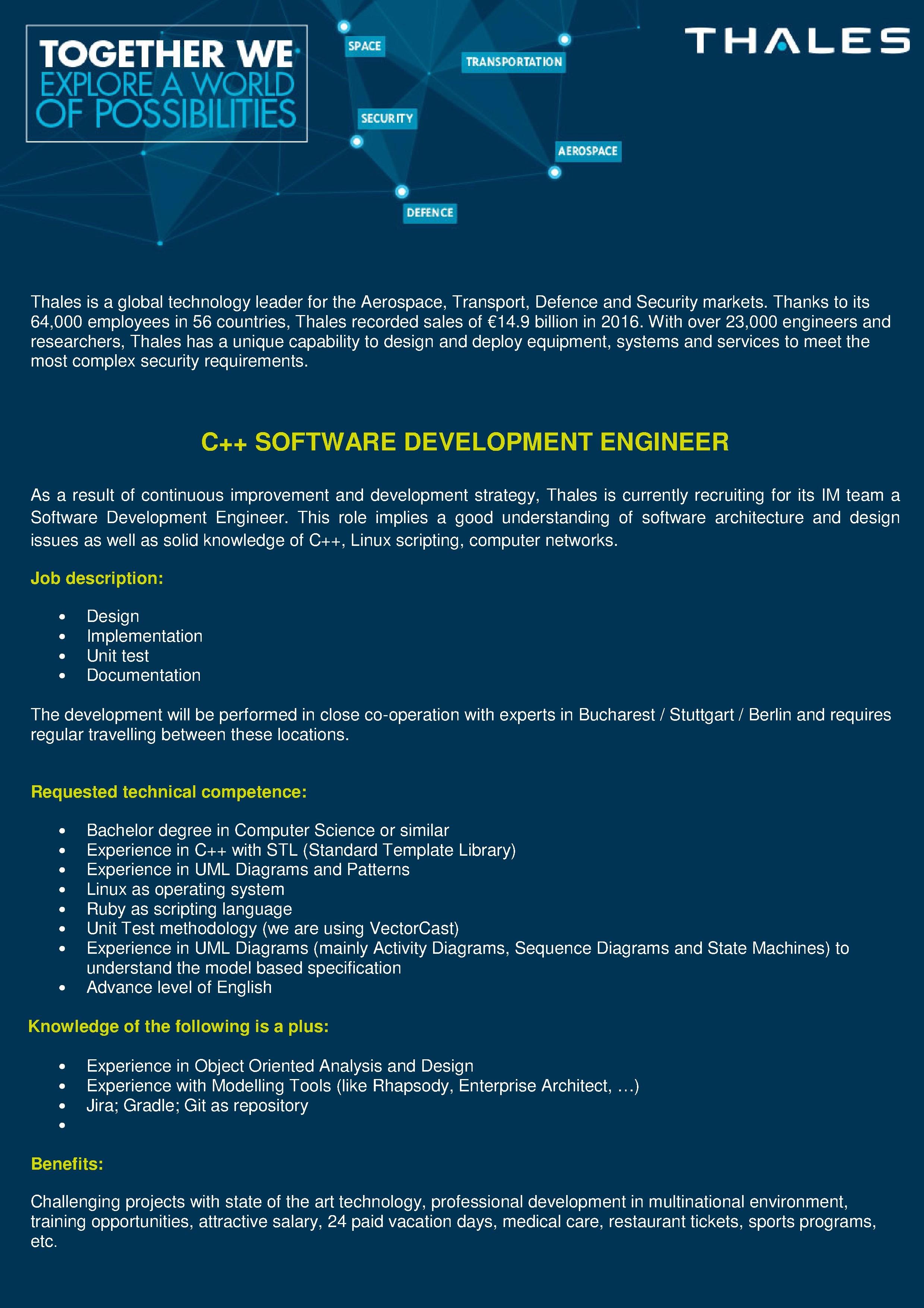 C++ Software developer eng NXL new
