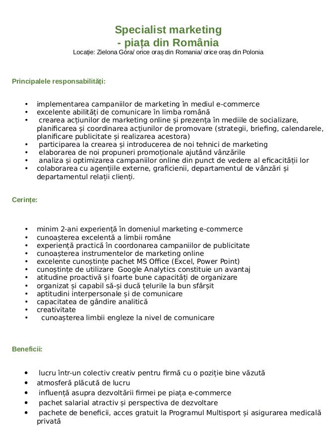 Specjalista ds marketingu internetowego_Rumunia_ tlumaczenie