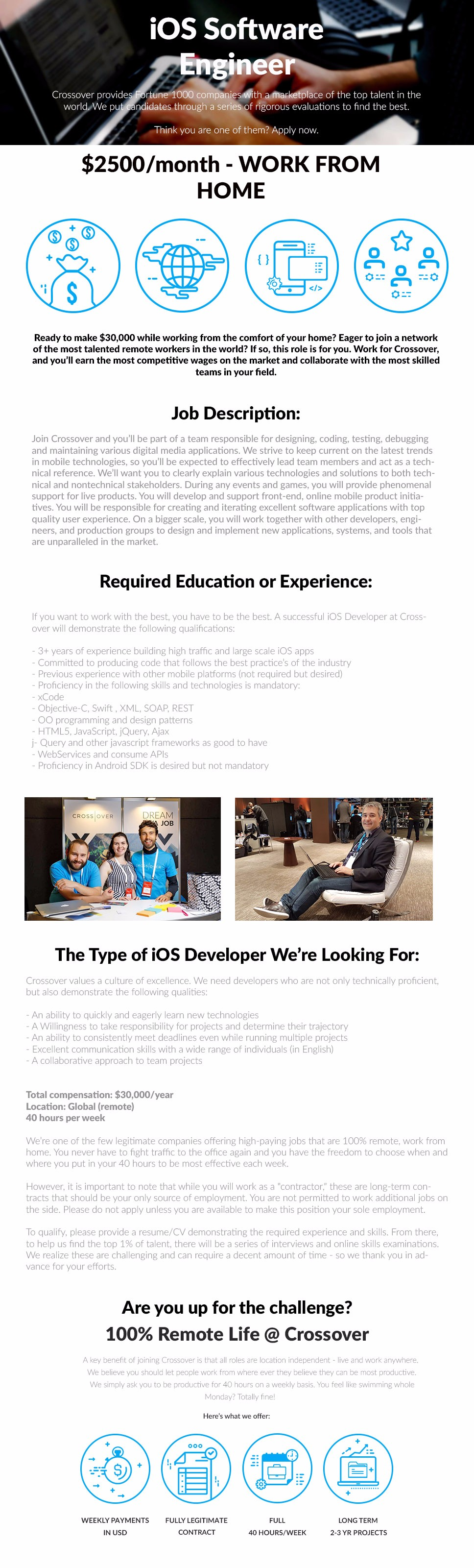 iOS Software Engineer, Crossover for work, responsible for designing, coding, testing, debugging and maintaining various digital media applications, HTML5, JavaScript, jQuery, Ajax