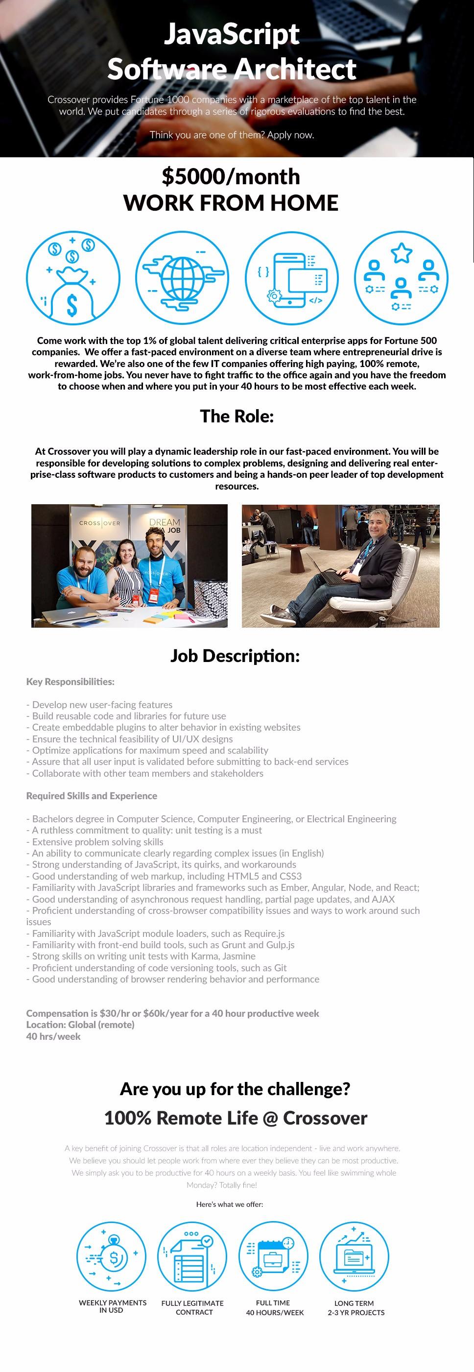 2224 - JavaScript Software Architect, JAVA, Java Script, HTML, HTML5, CSS3,