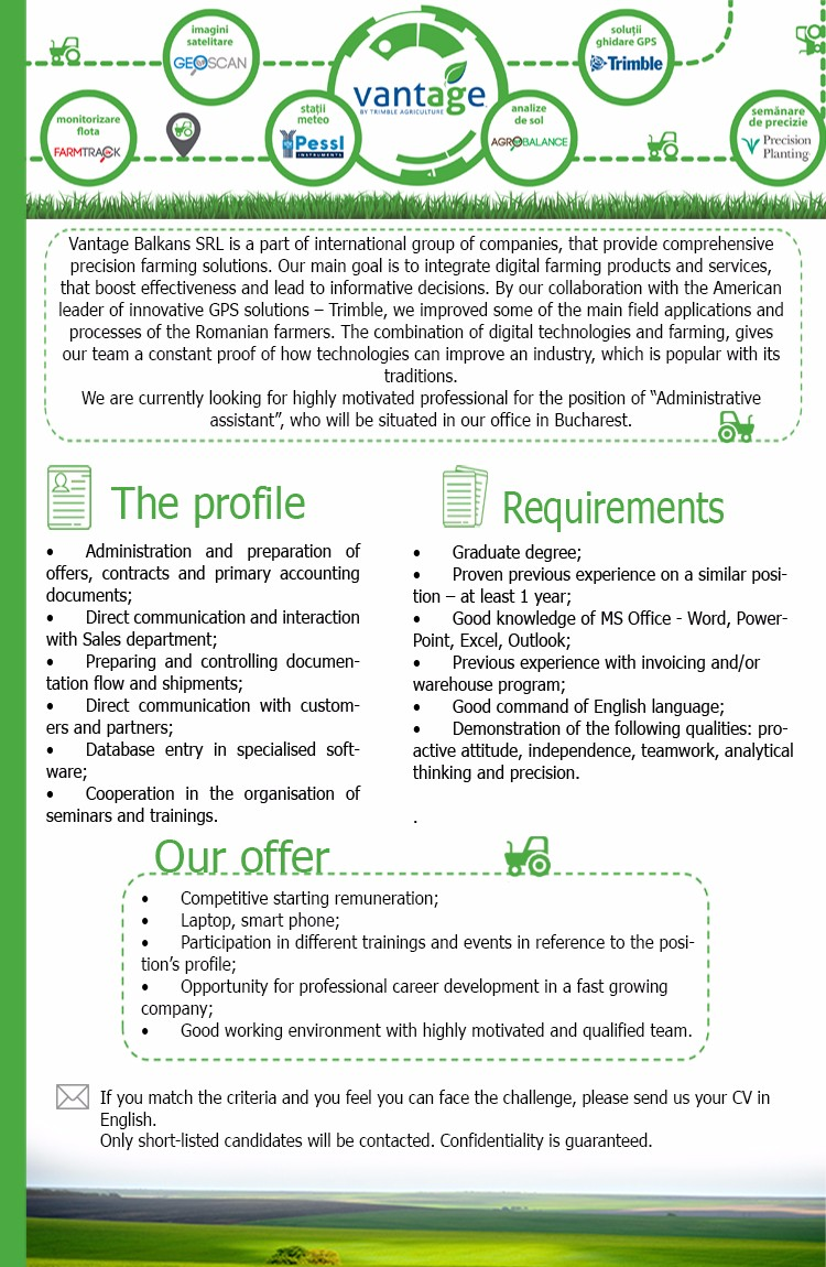 Administrative assistant - Bucharest - english